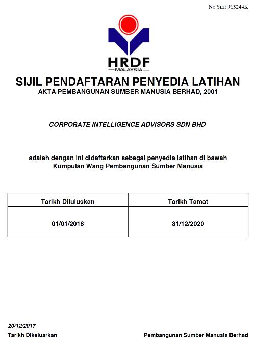 Corporate Intelligence Advisors PSMB Certificate