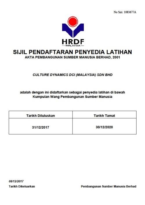 Culture Dynamics PSMB Certificate